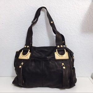 B. Makowsky W Pebbled Handbag Leather Shoulder Bag